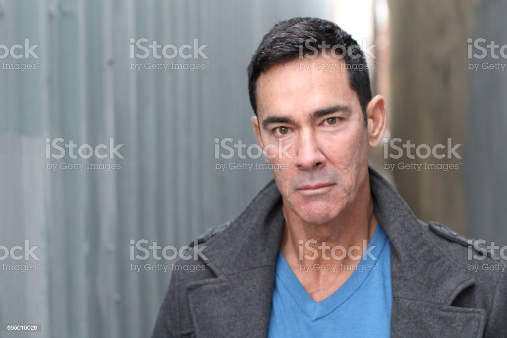 Senior handsome Caucasian man portrait stock photo