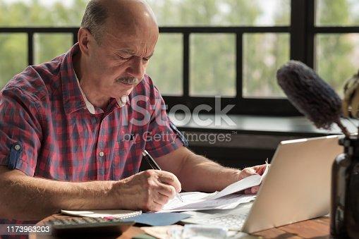 Senior hispanic man using calculator and calculate bills at the living room