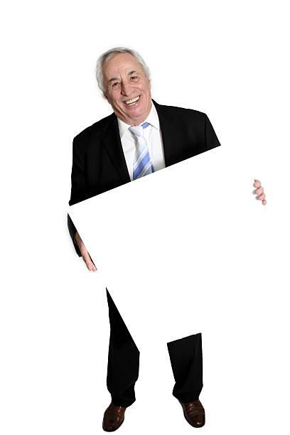 senior holding white board stock photo