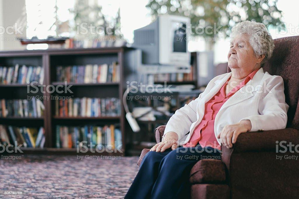 Senior in the retirement home stock photo