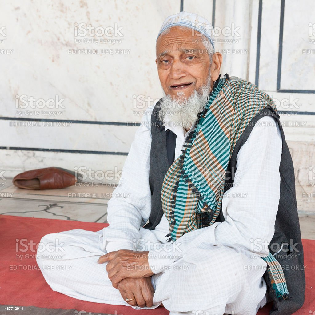 Senior Indian Man at Jama Masjid - Old Delhi, India stock photo