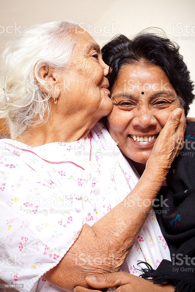 Senior Indian mother and daughter royalty-free stock photo