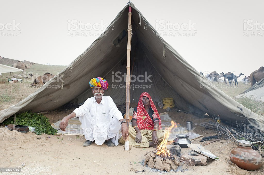 Senior Indian Tribal Couple - Pushkar Fair royalty-free stock photo