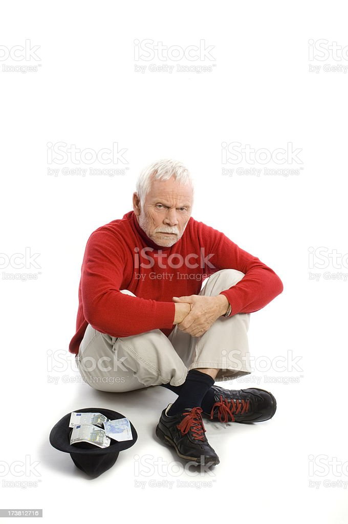 Senior is begging for pension royalty-free stock photo