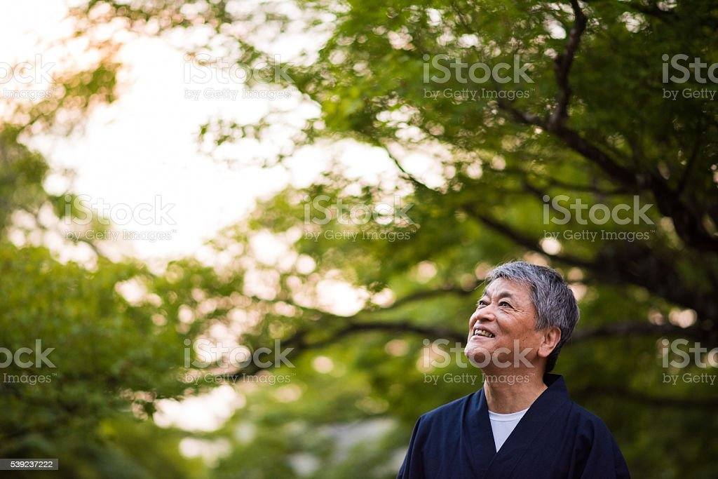 Senior Japanese man in traditional clothing royalty-free stock photo