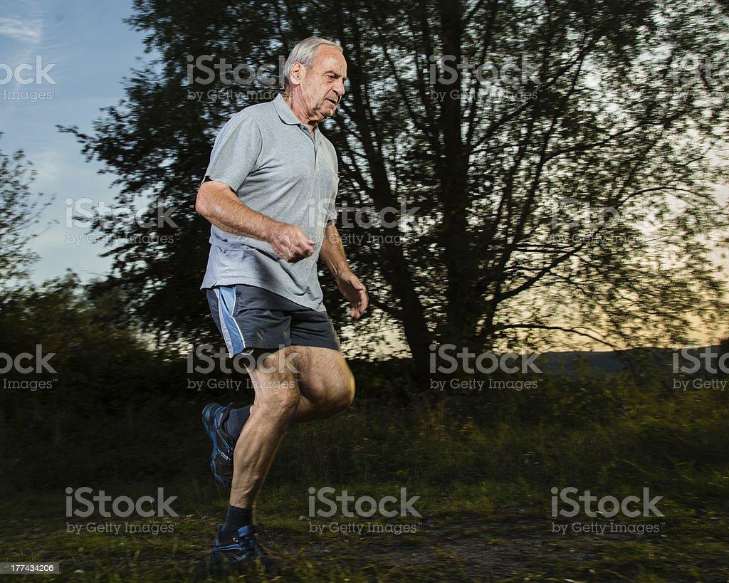 senior jogging royalty-free stock photo