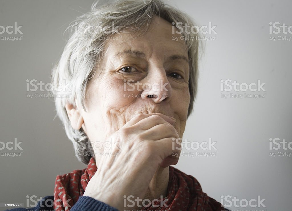 Senior Keeping a Secret royalty-free stock photo