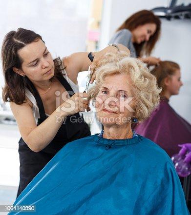 istock Senior lady getting haircutting 1064140390