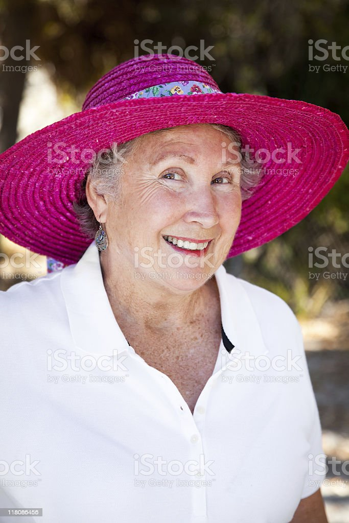 Senior Lady in Sun Hat royalty-free stock photo