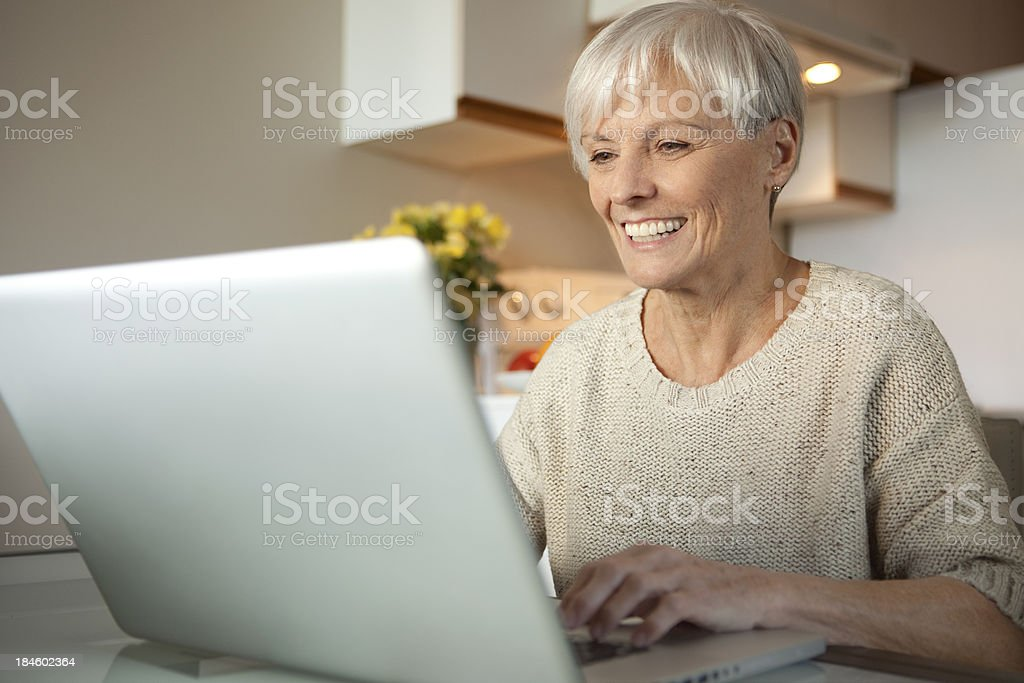 Senior Lady With Laptop In The Kitchen royalty-free stock photo