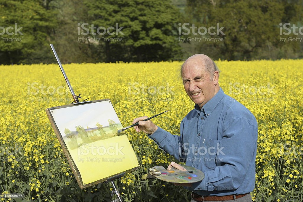 Senior male artist painting in a field full of Rapeseed. royalty-free stock photo