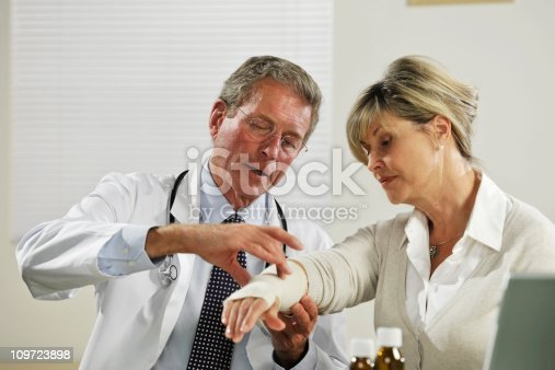 istock senior male doctor treating female patient 109723898