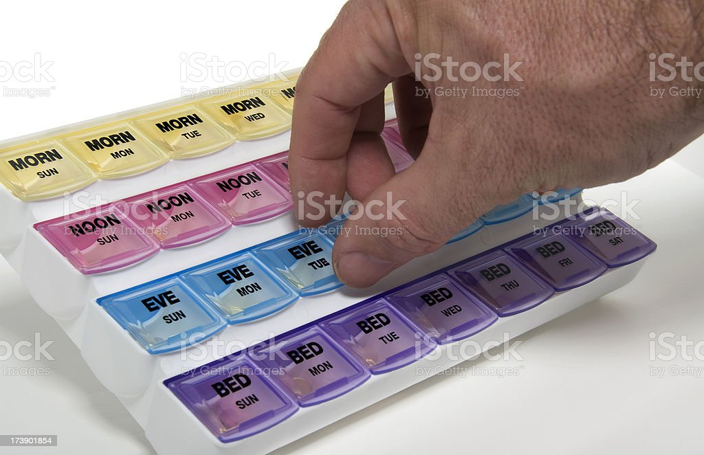 Senior Male Hand and Pill Box royalty-free stock photo