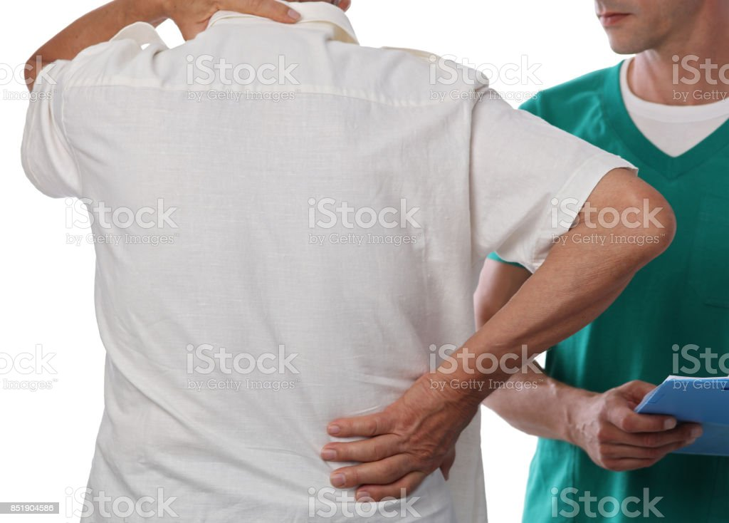 Senior male patient suffering from back pain during medical exam. Chiropractic, osteopathy, Physiotherapy. Alternative medicine, pain relief concept stock photo