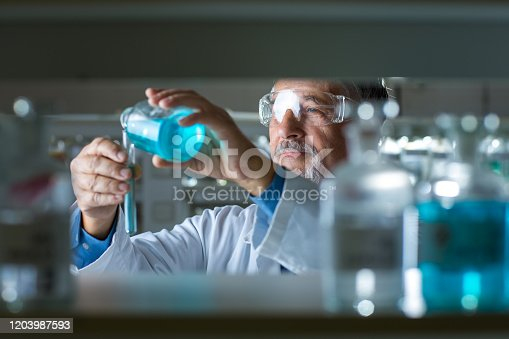 661098200istockphoto Senior male researcher carrying out scientific research in a lab 1203987593