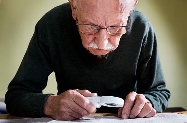 Senior Male With Macular Degeneration stock photo