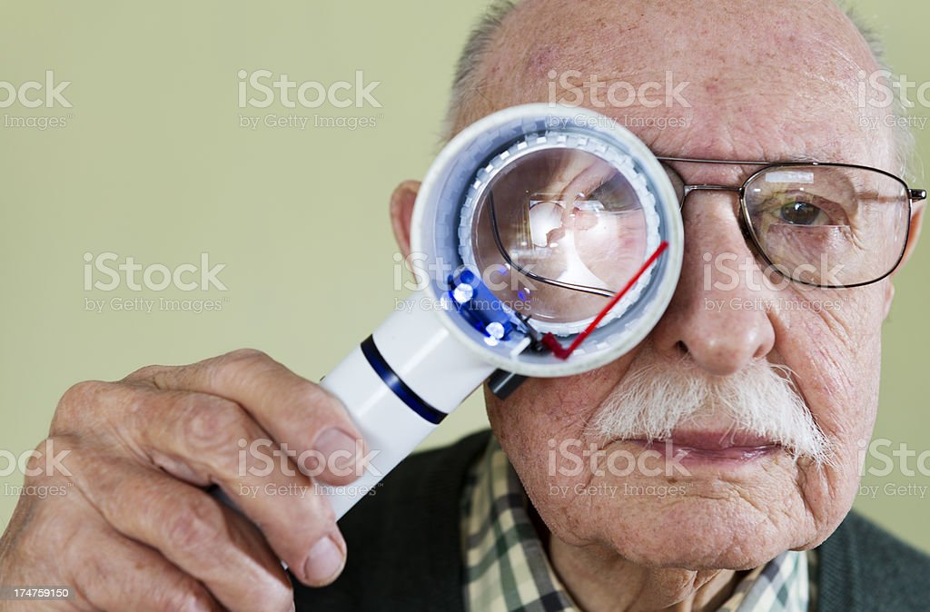 Senior Male With Macular Degeneration stock photo
