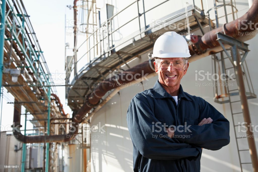 Senior male worker at industrial plant stock photo