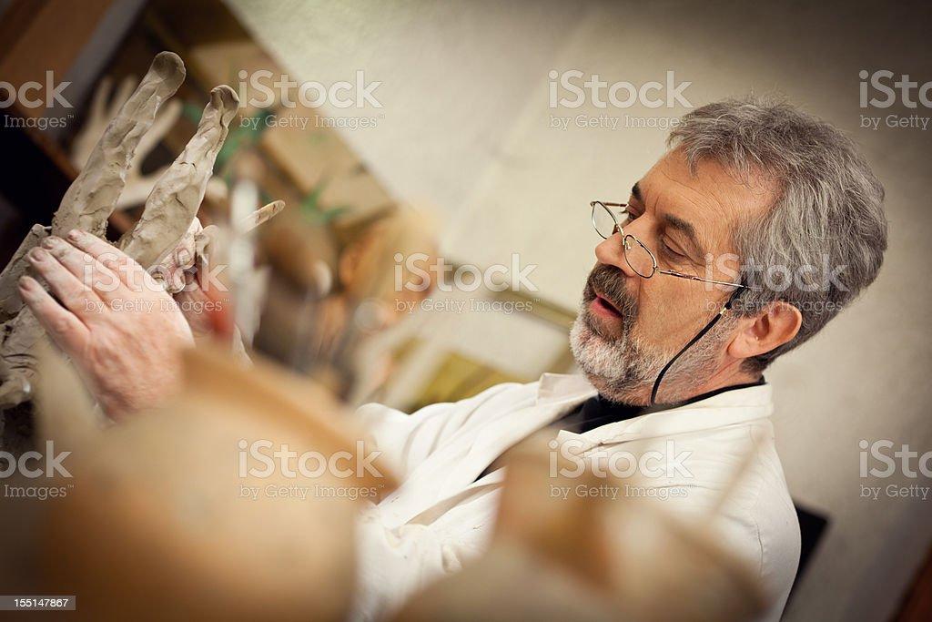 Senior man and his hobby royalty-free stock photo