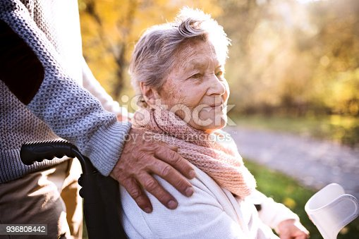 istock Senior man and woman in wheelchair in autumn nature. 936808442