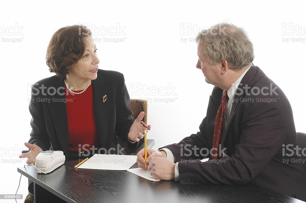 Senior man and woman meet for business royalty-free stock photo
