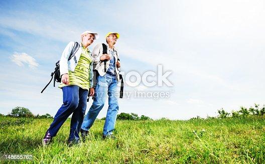119998253istockphoto Senior man and woman tourists walking. 148655762