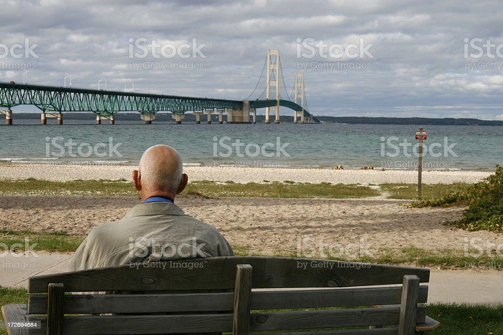Senior Man at Mackinac Bridge royalty-free stock photo