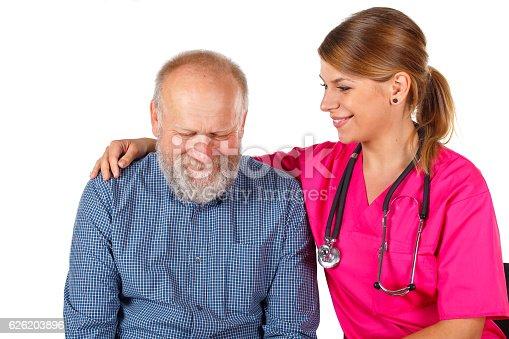 istock Senior man at the doctor 626203896