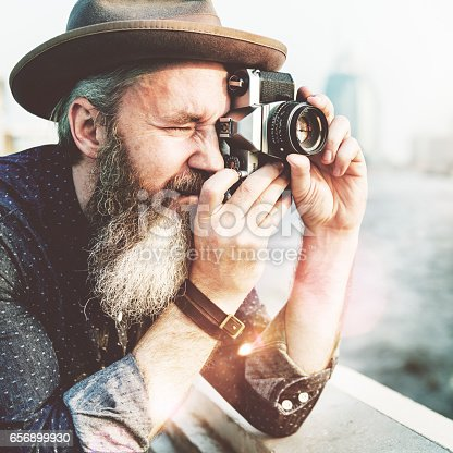 istock Senior Man Camera Photography Traveling Concept 656899930