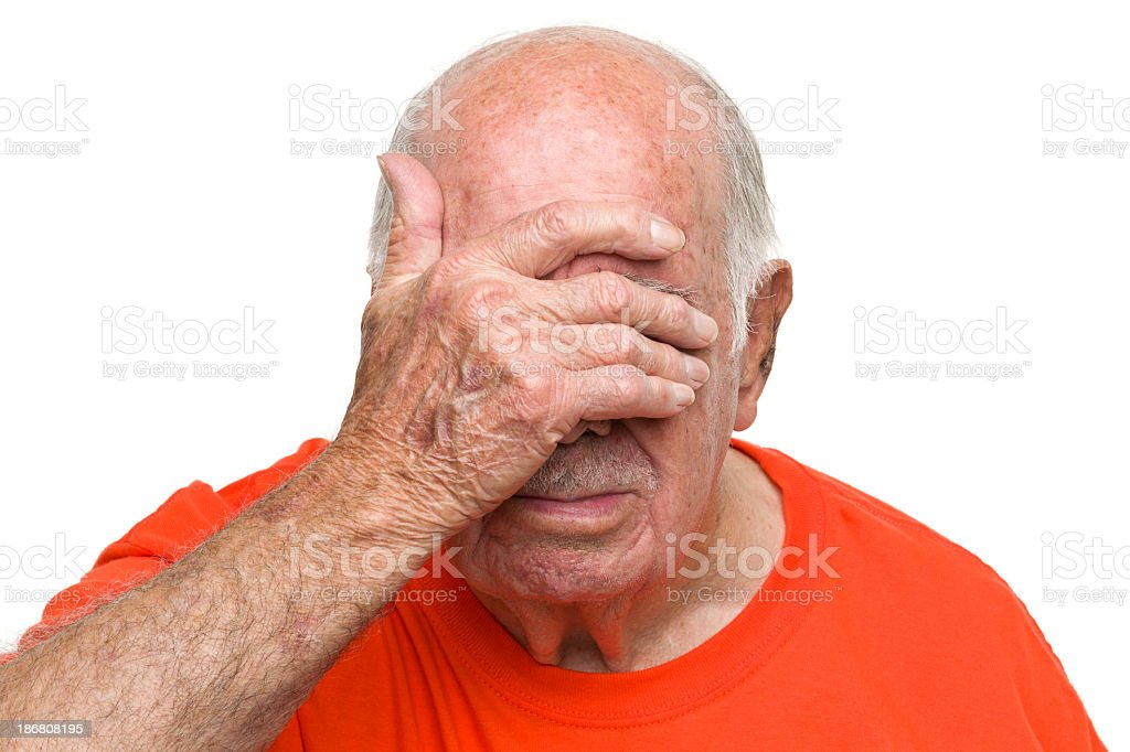 Senior Man Covering Face With Hand royalty-free stock photo