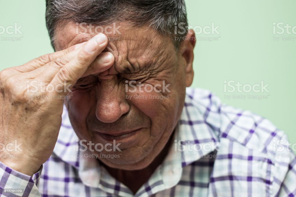 Senior man crying stock photo