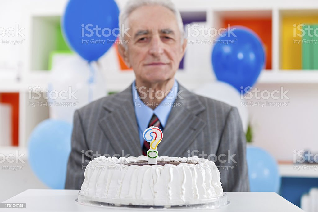 Senior man does not know how old royalty-free stock photo