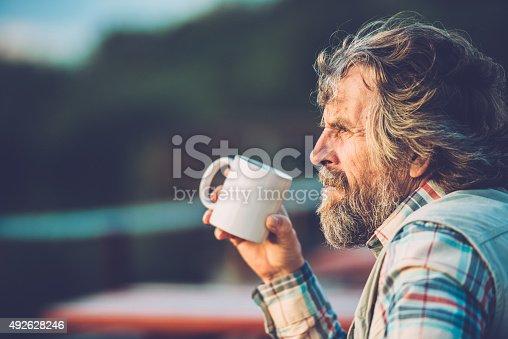 Senior man drinking a coffee