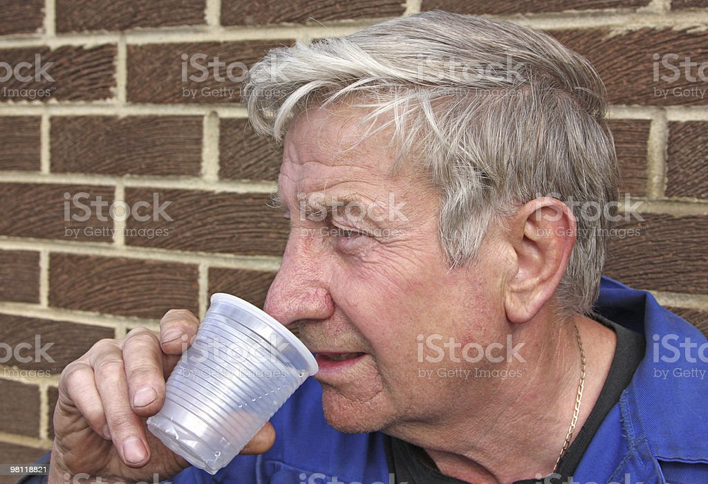 senior  man drinking water royalty-free stock photo