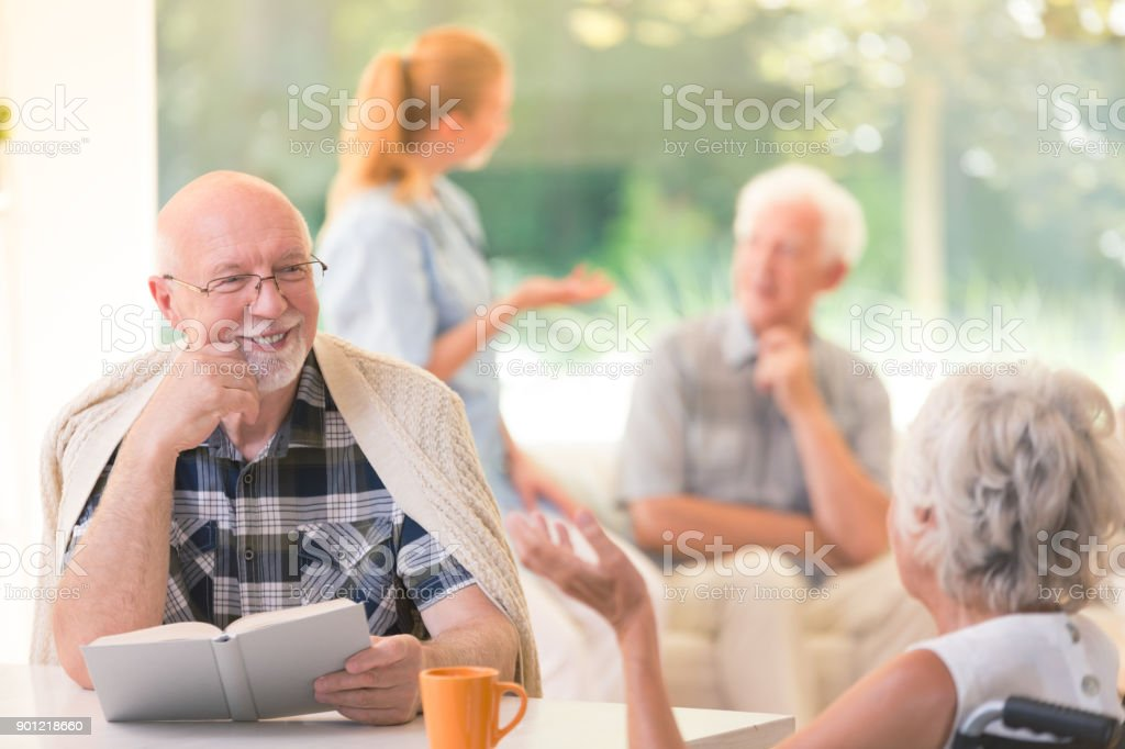 Senior man enjoying time stock photo