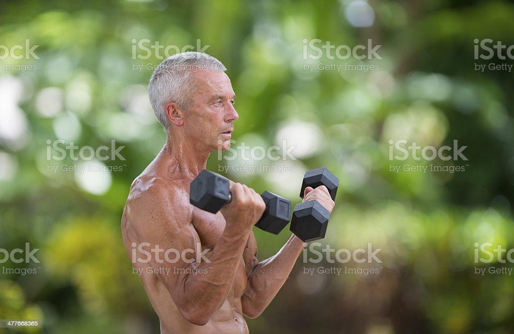 Senior Man Exercising royalty-free stock photo