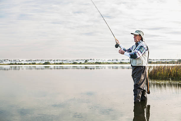 Senior man fly fishing A senior man, in his sixties, is fishing on the Intracoastal Waterway in Florida.  He is standing in the water, wearing waders, a fishing vest, and hat.  The water is calm, reflecting the sky and clouds. freshwater fishing stock pictures, royalty-free photos & images