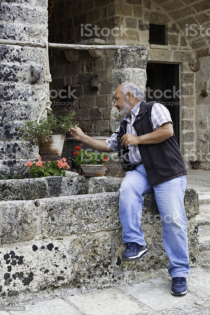 Senior Man Gardening royalty-free stock photo