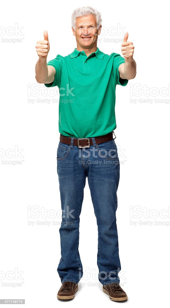 Senior Man Gesturing Double Thumbs Up - Isolated royalty-free stock photo