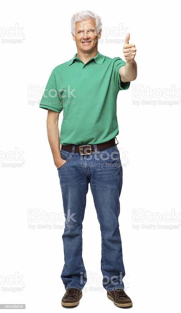 Senior Man Gesturing Thumbs Up - Isolated royalty-free stock photo