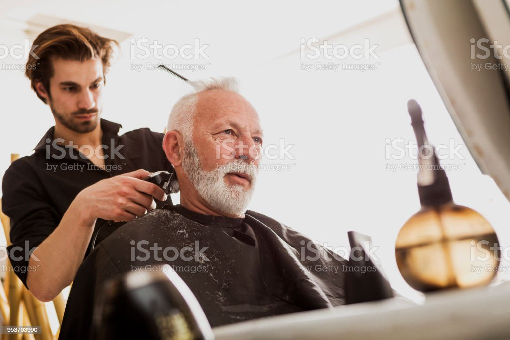 Senior Man Getting New Haircut Stock Photo More Pictures Of 65 69
