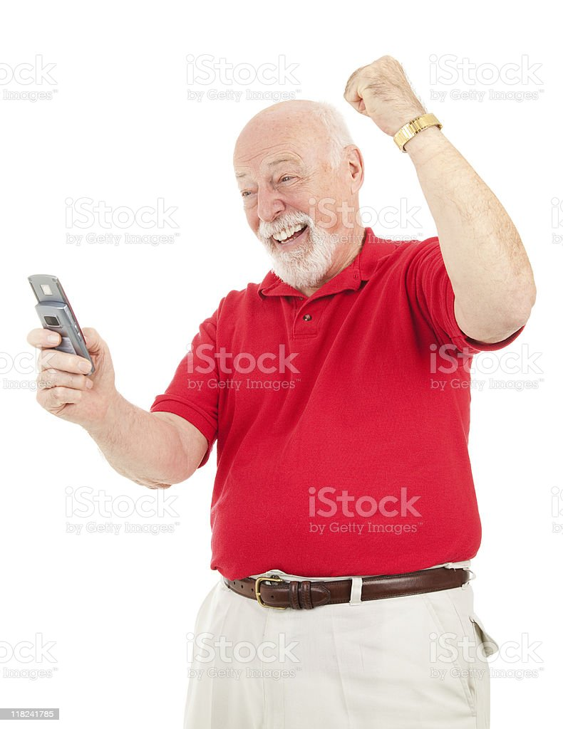 Senior Man - Good News by Text royalty-free stock photo