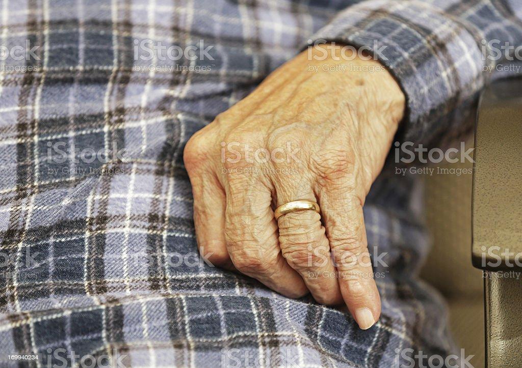Senior Man Hand With Wedding Ring royalty-free stock photo