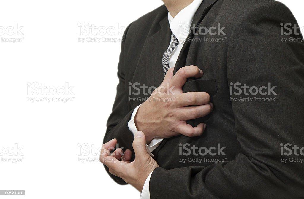Senior man having a heart attack royalty-free stock photo