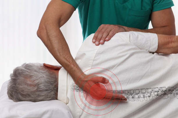 senior man having chiropractic back adjustment. osteopathy, physiotherapy, pain relief concept - chiropractic care stock photos and pictures