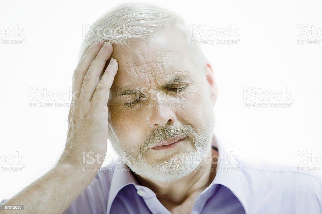 senior man headache memory loss royalty-free stock photo