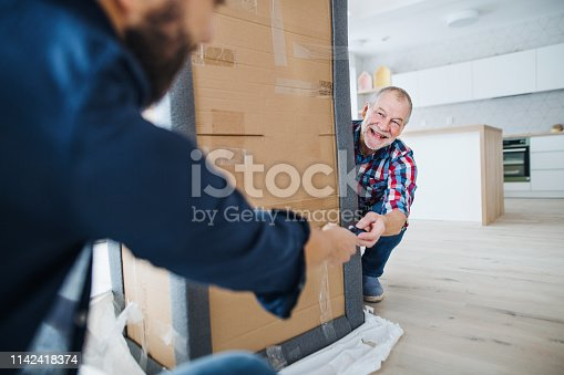 istock A senior man helping his son with furnishing new house, a new home concept. 1142418374