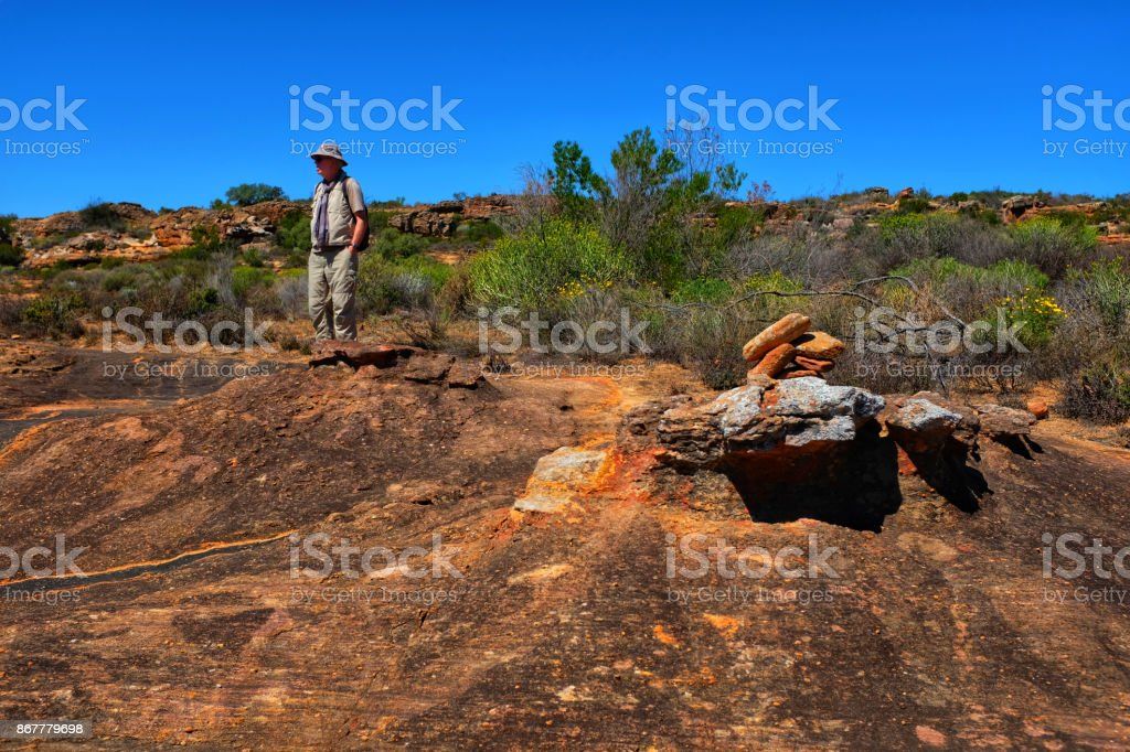 Senior man hiking  in the Cederberg Mountain area, South Africa stock photo