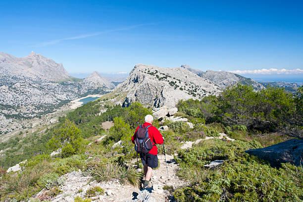 Senior Man Hiking, Mallorca stock photo