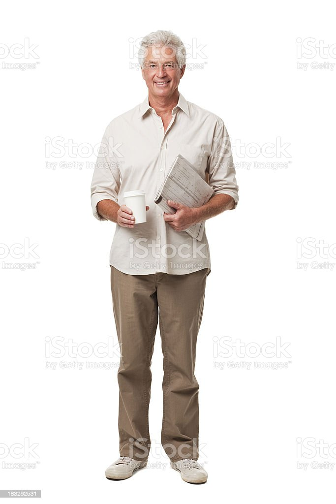 Senior Man Holding Coffee and Newspaper Isolated on White royalty-free stock photo